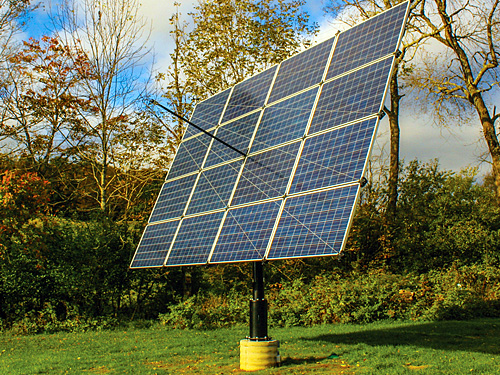 Tracker mounted solar panels