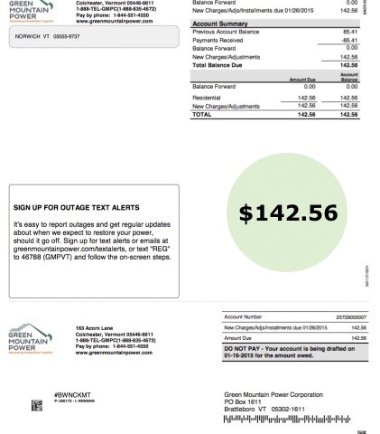 Typical Utility Bill showing home energy usage